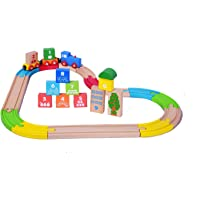Gift Equals Love Wooden Train Set with Colorful Tracks 29 Pieces with Number Blocks