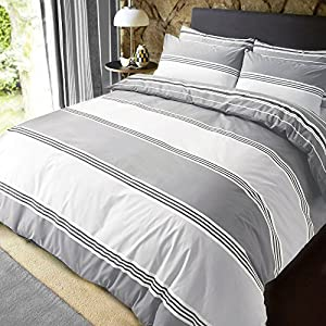 Sleepdown Grey Banded Stripe Single Duvet Cover Set. Easy Care And Super Soft Cotton Reversible Design. Trendy Grey Striped Pattern Quilt. Size 135 x 200 cm + 2 Matching Pillowcase.