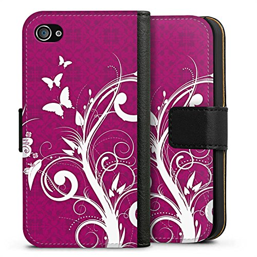 Apple iPhone X Silikon Hülle Case Schutzhülle Pink Schmetterlinge Blumen Sideflip Tasche schwarz