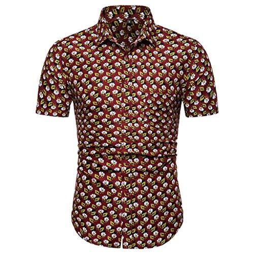 Camicie Uomo Casual Slim Fit Camicie Button-Down Camicie da Spiaggia con Maniche Corte a Maniche Corte hawaiane (XL,2- Marrone)