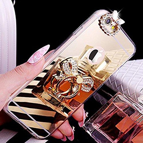 EUWLY Silicone Custodia per iPhone 7 Plus/iPhone 8 Plus (5.5),Specchio Cover Case per [iPhone 7 Plus/iPhone 8 Plus (5.5)],Glossy Mirror Bling Glitter Diamante TPU Custodia Case Farfalla Ring Anello  Anello Cravatta Farfalla,Oro