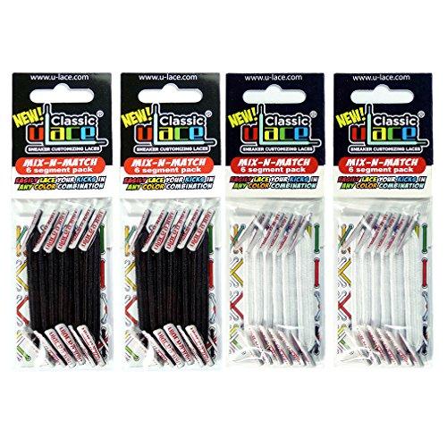 U-LACE Pack de lacets élastiques autobloquant 4 sachets 2 sachets noirs + 2 sachets blancs