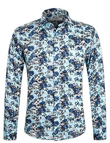 APTRO Herren Freizeit Mercerisierte Baumwolle Mehrfarbig Langarm Shirt #1905 XXXL (60er Baumwolle Jahre 70er)