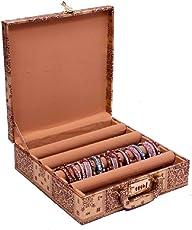 Kuber Industries Wooden Bangle Storage Box 4 Rod, Gold