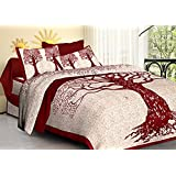 Palchin Creations Cotton Print King Size Bed Sheet With Pillow Cover - Red (90 X 108 Inches) (Fit To 7.5 Feet X 9 Feet Bed)