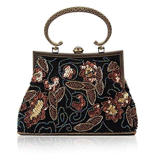 Borse da donna Retro Handmade in rilievo spalla diagonale pacchetto di sera Black