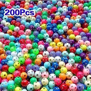 200X PERLES EN PLASTIQUE STRASS ROND 8MM MULTICOLORES
