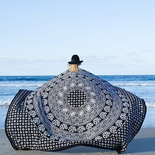 Mandala Große Platz Beach Überwurf Tapisserie Leicht Polygon Hippie Boho Gypsy Tischdecke Turban Decke Schal Psychedelic Yoga Matte Schwarz & Weiß (203,2x 147,3cm) ()