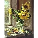 Fairylove 16 * 20 Zoll Malen nach Zahlen DIY Ölgemälde,Windowsill Sonnenblumen