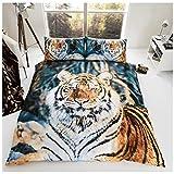 Gaveno Cavailia 3D Wildlife Braun Tiger Bettwäsche-Set mit Bettbezug, Polycotton 50% Baumwolle, 50% Polyester, Multi, King Size