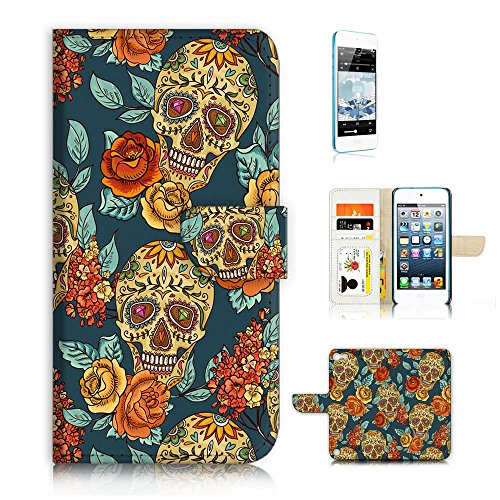 (für iPod Touch 5/iTouch 5) Flip Wallet Case Cover und Displayschutzfolie Bundle a20267 Sugar Skull