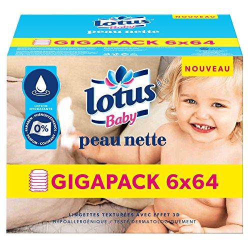 Lotus Baby Peau Nette - Lingette bébé -  6 paquets de 64 lingettes
