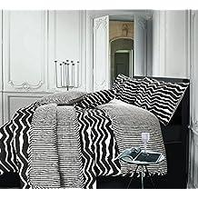 nimsay Home Alex blanco y negro diseño de rayas reversible Diseño de Cebra Impresión Funda de edredón y funda de almohada Set, negro/blanco, matrimonio