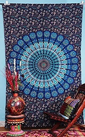 indian-hippie bohemian-psychedelic-dorm-room droplet-mandala wall-hanging-tapestry-blue twin-size-54 X 72