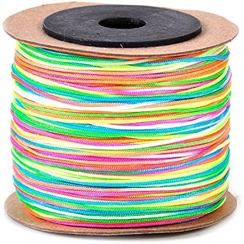 Cable de 0,8 mm de nylon 100M rebordear Hilo de cola de rata Macrame chino nudo trenzado de bricolaje multicolor