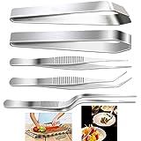 """YFOX Lot de 5 pinces de cuisine en acier inoxydable et pince de précision, 3 pinces de 6,3"""" et 2 pinces de précision de 11,9"""