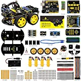 keyestudio Smart Car Kit UNO Starter Kit w/UNO R3 Board, Line Tracking Module, Ultrasonic Sensor, Bluetooth module, Tutorial etc.Intelligent and Educational Toy Car Robotic Kit for Arduino