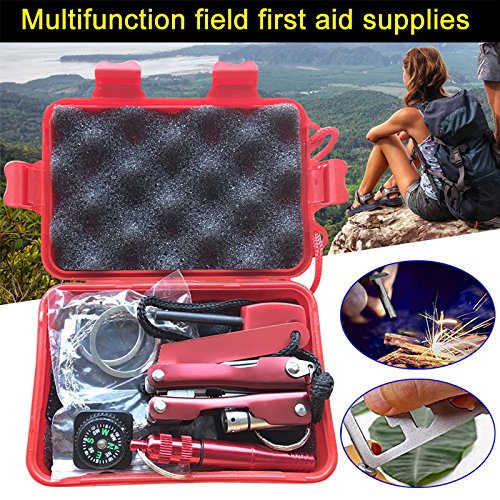 Suppyfly 1 Set Emergency SOS Kit Car Earthquake Supplies SOS Outdoor Camping Survival Tool Kit with Box