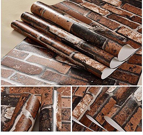 GaoHX Retro-Grauen Stein Antik Ziegelrot Stein Tapete Chinarestaurant Ziegel 3D Wallpaper,B