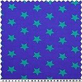 alfa HOME Alpen-Fleece, Sterne, Blau/grün, 150 cm Breit,