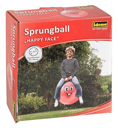 Idena 40093 - Sprungball Happy Face in rot, Durchmesser ca. 45 - 50 cm, belastbar bis 50 kg, ideal für Sommer, Park oder Kindergarten