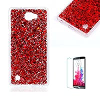 For LG X5 Case Cover [with Free Screen Protector], Funyye Fashionable Lovely and Sparkly Designer Shockproof Shock Absorber Soft Rubber Gel TPU Protective Case Cover Skin Shell for LG X5- Red