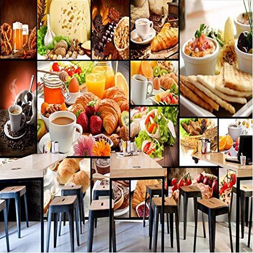 Lsfhb Tapete 3D Benutzerdefinierte Europäische Bäckerei Gebackene Milch Dessert Cafe Hintergrund Wand Restaurant Wandbild Hochwertige Tapete-150X120Cm