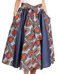 Sakkas Dayo Circle Mid Skirt avec taille élastique Colorful Ankara African Wax Dutch