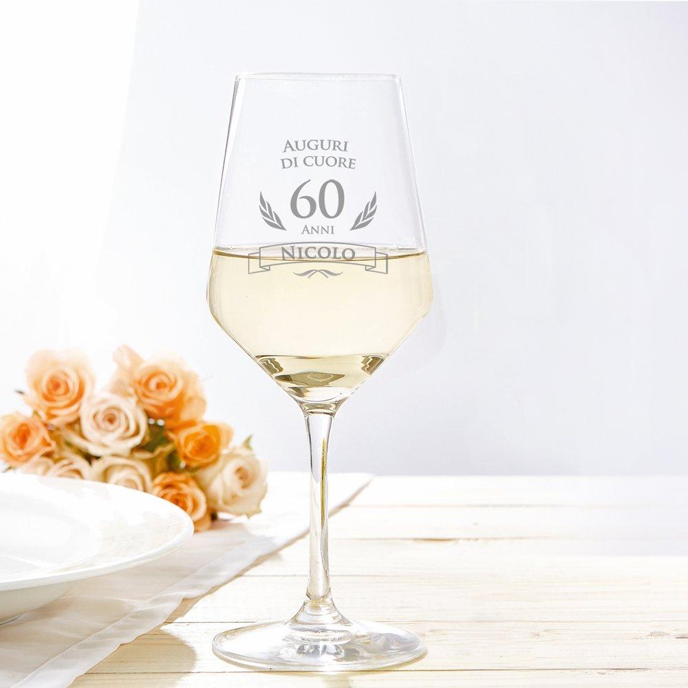 Amavel Calice Da Vino Bianco Con Incisione Per Il Compleanno Auguri Di Cuore 60 Anni Personalizzato Con Nome Regali Originali Per Lui E