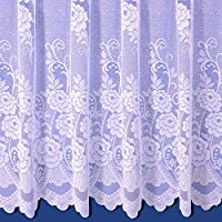 Sally Net Curtain in White. 48inch Drop. Sold By The Metre.