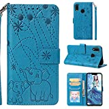 Ostop Coque Portefeuille pour Huawei Nova 3i/Huawei P Smart Plus,Bleu Étui en Cuir PU,Eléphant Fleur Motif Imprimé Mince Stand Housse Fermeture Magnétique Livre à Rabat Pochette