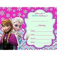 Frozen Elsa Olaf 12Tarjetas De Invitación Para Cumpleaños, con sobres), color azul