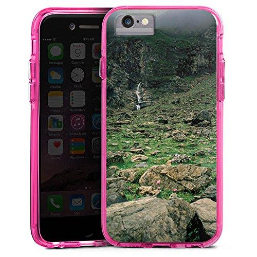 Apple iPhone 7 Bumper Hülle Bumper Case Glitzer Hülle Wasserfall Gebirge Felsen Bumper Case transparent pink