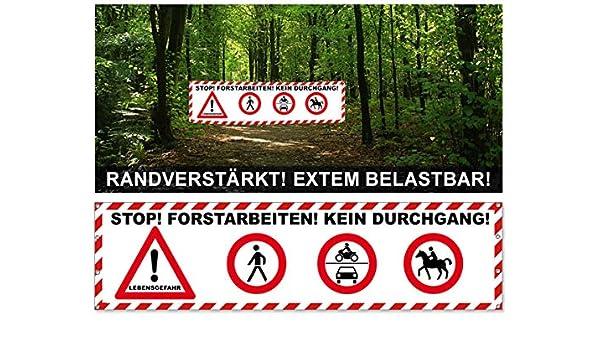 Banner Forstarbeiten Waldarbeit Baumfällung Banner 200x50cm Bäumfällung Plane