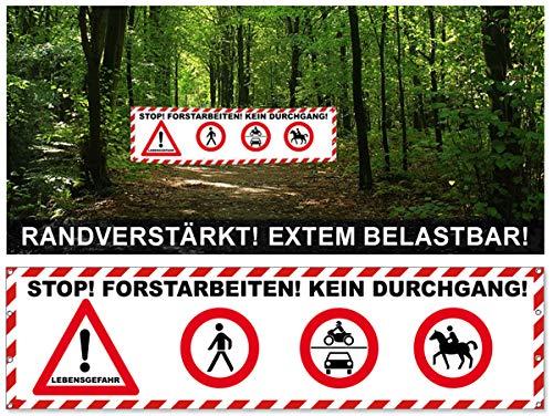 Lichtfieber Werbetechnik Banner Baumfällungen / Absperrung / Sicherheit Forstarbeiten Plane 200x50 cm / Banner Waldarbeiten