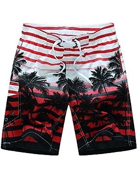 Cinnamou pantalones cortos para hombres con cintura elástica de longitud media para vacaciones Deportes corriendo...