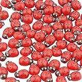 DEKOWEAR Marienkäfer Selbstklebend mit Klebepunkt 100 Stück Zum dekorieren aus Holz, Rot oder Bunt, 11 mm als Glückskäfer - Handgearbeiteter Glücksbringer Rot