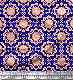Soimoi Blau Viskose Chiffon Stoff Vektor-Design Damast