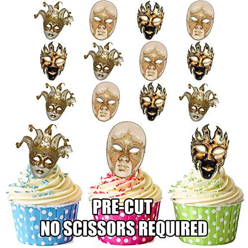 Masken Gras Mardi Männliche (Masquerade Ball Masken, Full Face männlich und weiblich Mix–essbar Stand-up Cupcake Topper (Pack von)