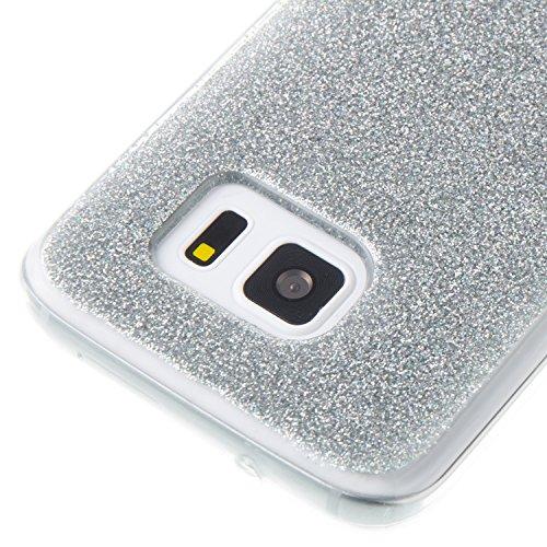 Samsung Galaxy S7 Silicone Coque, Samsung Galaxy S7 Bling Diamant Coque en Silicone Coque Clair,Cozy Hut Bling Glitter Étoile étincelante étoilée design étoilé pour Samsung Galaxy S7 Case Coque Housse Argent