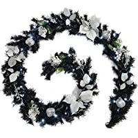 WeRChristmas Pre-Lit Decorated Illuminated with 40 Cool White LED Lights, 9 feet - Garland, Black/Silver