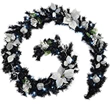 9ft Black & Silver Decorated Pre-Lit Garland Christmas Decoration Illuminated with 40 Warm White LED Lights
