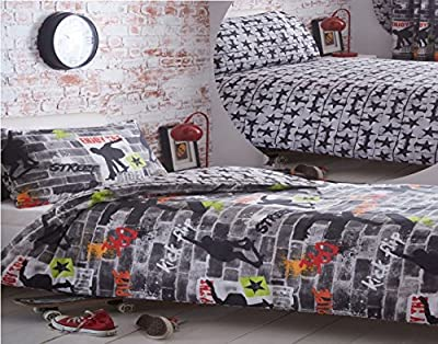 Kidz Club Teenagers Single Bed Duvet Cover and Pillowcase Bedding Bed Set Cool Skateboards and Graffiti Quilt Cover Set - Tricks, Grey produced by Bedmaker - quick delivery from UK.