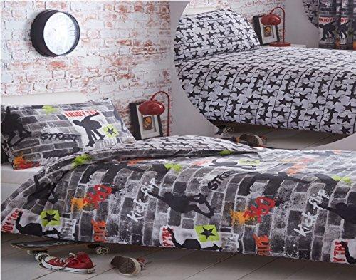 Kidz Club Lit Double Housse de Couette et taie d'oreiller Parure de lit pour Adolescents Skateboards et Graffitis – Gris