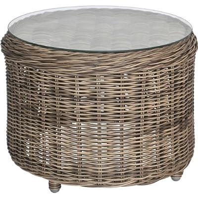 Beistelltisch Gartentisch rund, Gestell Alu, Geflecht rund grau/braun, Glasplatte ø50x38cm