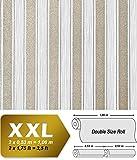Streifen Tapete XXL Vliestapete EDEM 658-90 Elegante Blockstreifen Tapete weiß grau bronze dezente glitzer 10,65 m2