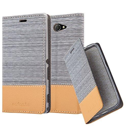 Cadorabo Hülle für Sony Xperia M2 - Hülle in HELL GRAU BRAUN – Handyhülle mit Standfunktion und Kartenfach im Stoff Design - Case Cover Schutzhülle Etui Tasche Book