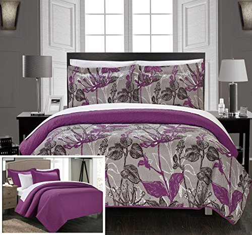 Chic Home 2 Piece Botanic Garden Abstract Floral Printed Quilt Set with 2 Shams, Twin, Grey by Chic Home -