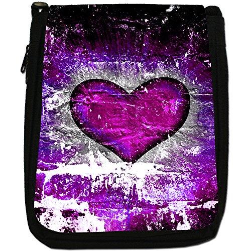 Cuore su muro di mattoni-Borsa a tracolla in tela, colore: nero, taglia: M Nero (Purple Grunge Heart)