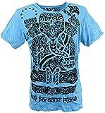 Guru-Shop Sure T-Shirt Tribal Ganesha, Herren, Hellblau, Baumwolle, Size:XL, Bedrucktes Shirt Alternative Bekleidung